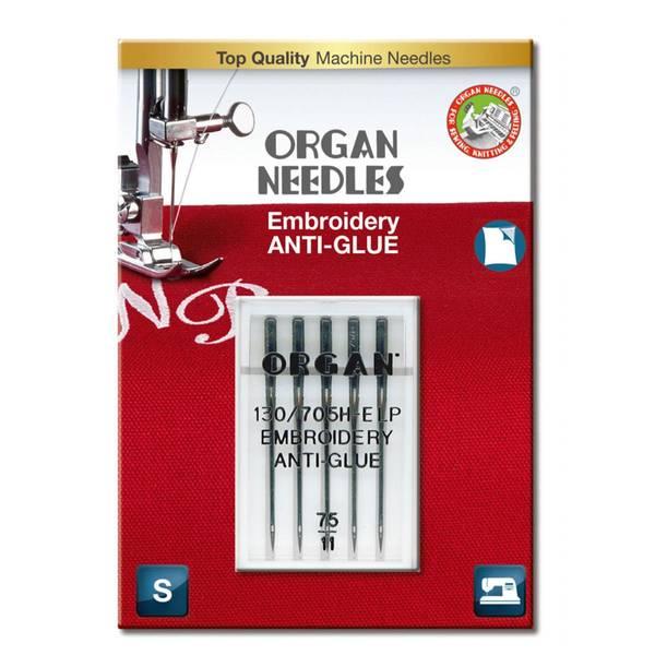 Bilde av (23F25B) Nål Organ Embroidery ANTI-GLUE 75/11, 5 stk (2o9)