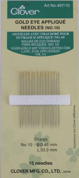 Bilde av Golden Eye Applique Needles no 10 Clover 497/10
