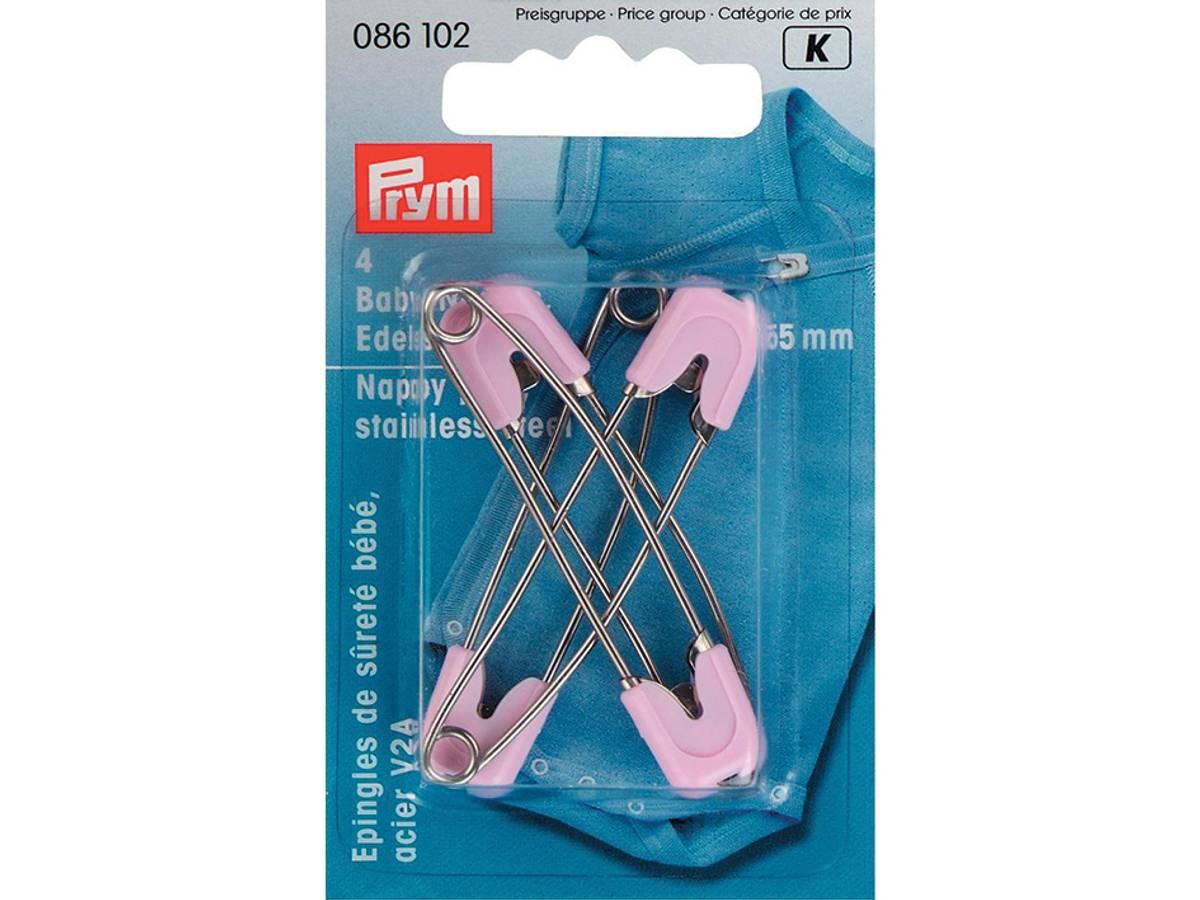 Prym Sikkerhetsnåler Baby 55mm 4stk – Lys rosa 086102