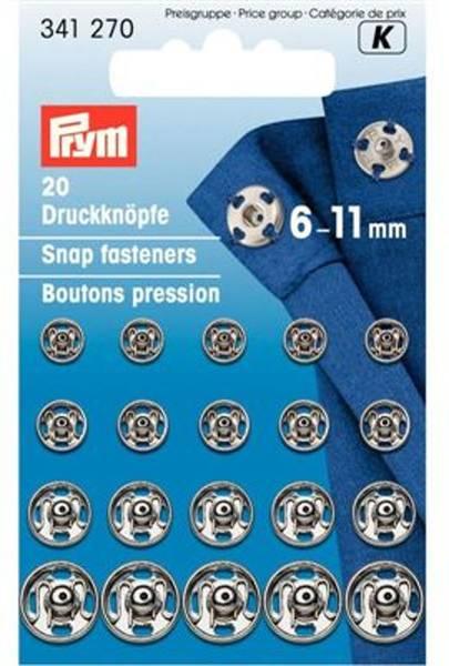 Bilde av Prym Trykknapper, 6-11mm, Sølv, 341270