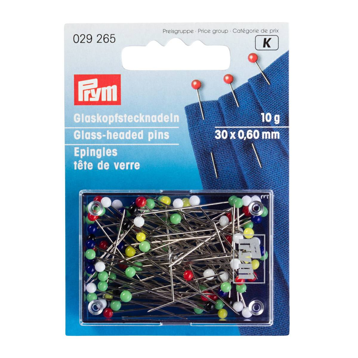 Prym Knappenåler m/Glasshode - 30x0,60mm 10g 029265