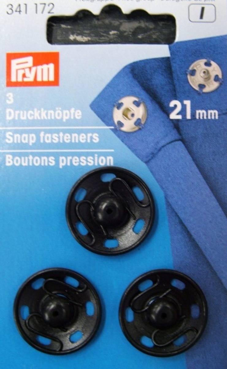 Prym Trykkknapper, 21mm, Sort, 341172
