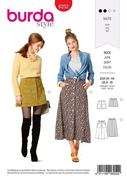 Bilde av Burda Mønster   6252 Misses' Skirts, Front Fastening, Mini or Mi
