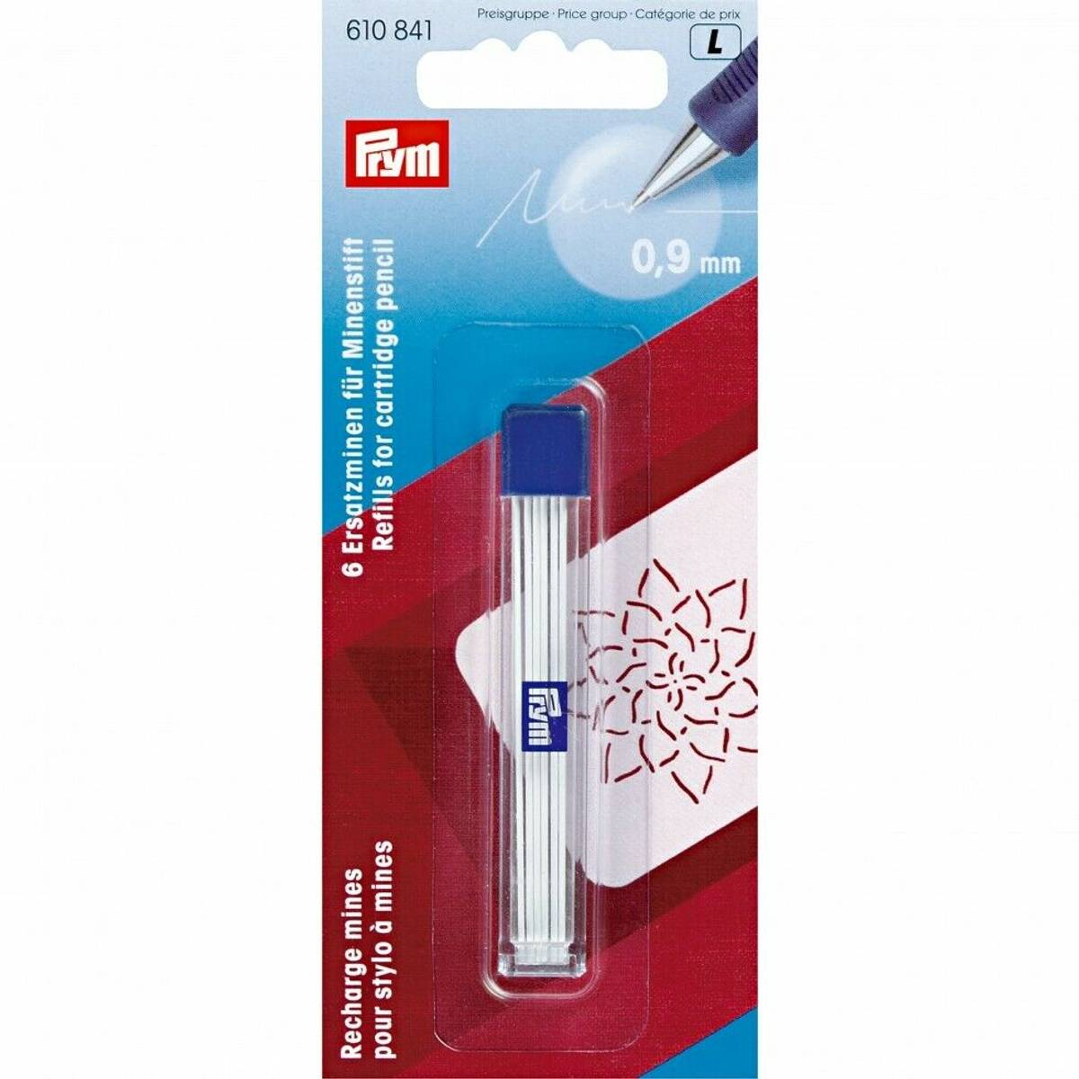 Prym Refill til trykkblyant - 0,9mm - 6stk hvit 610841