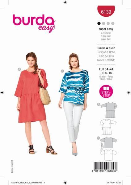 Bilde av Burda Mønster B6139 Bluse og kjole
