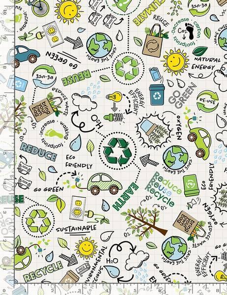 Bilde av TIMELESS TREASURE Reduce Reuse Recycle Fun,  FUN-C8418 WHITE