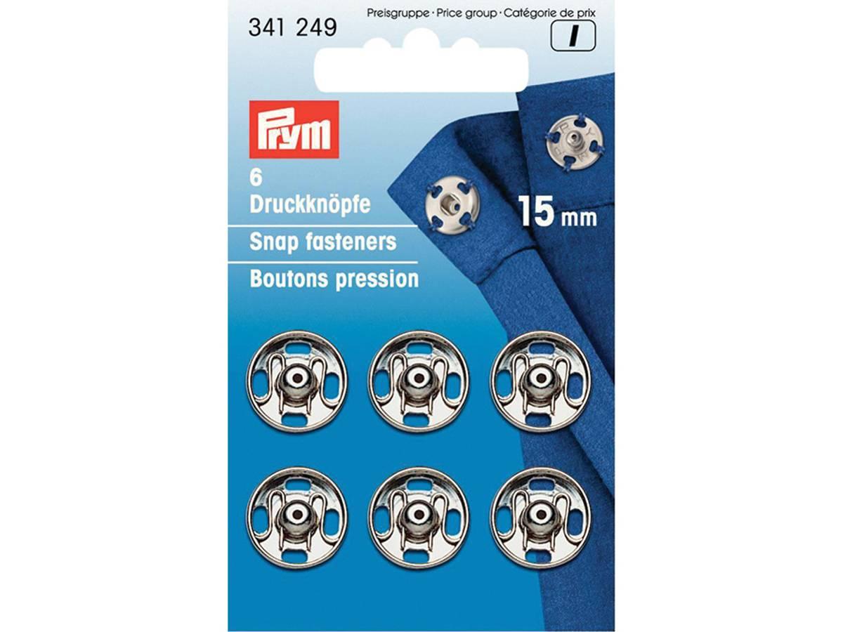 Prym Trykknapper, 15mm, Sølv, 341249