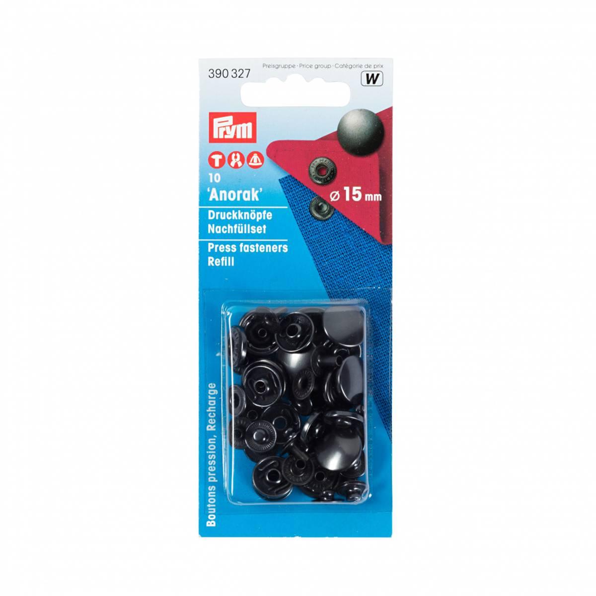 Prym - Refill, Anorak Trykknapper, 15mm, Matt-Sort, 390327