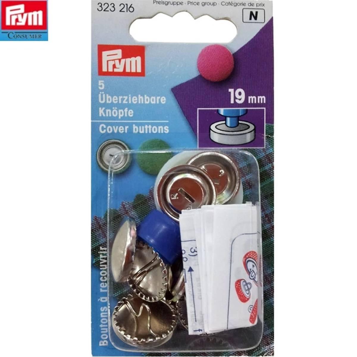 Prym Cover buttons 19mm 5stk sølv 323216