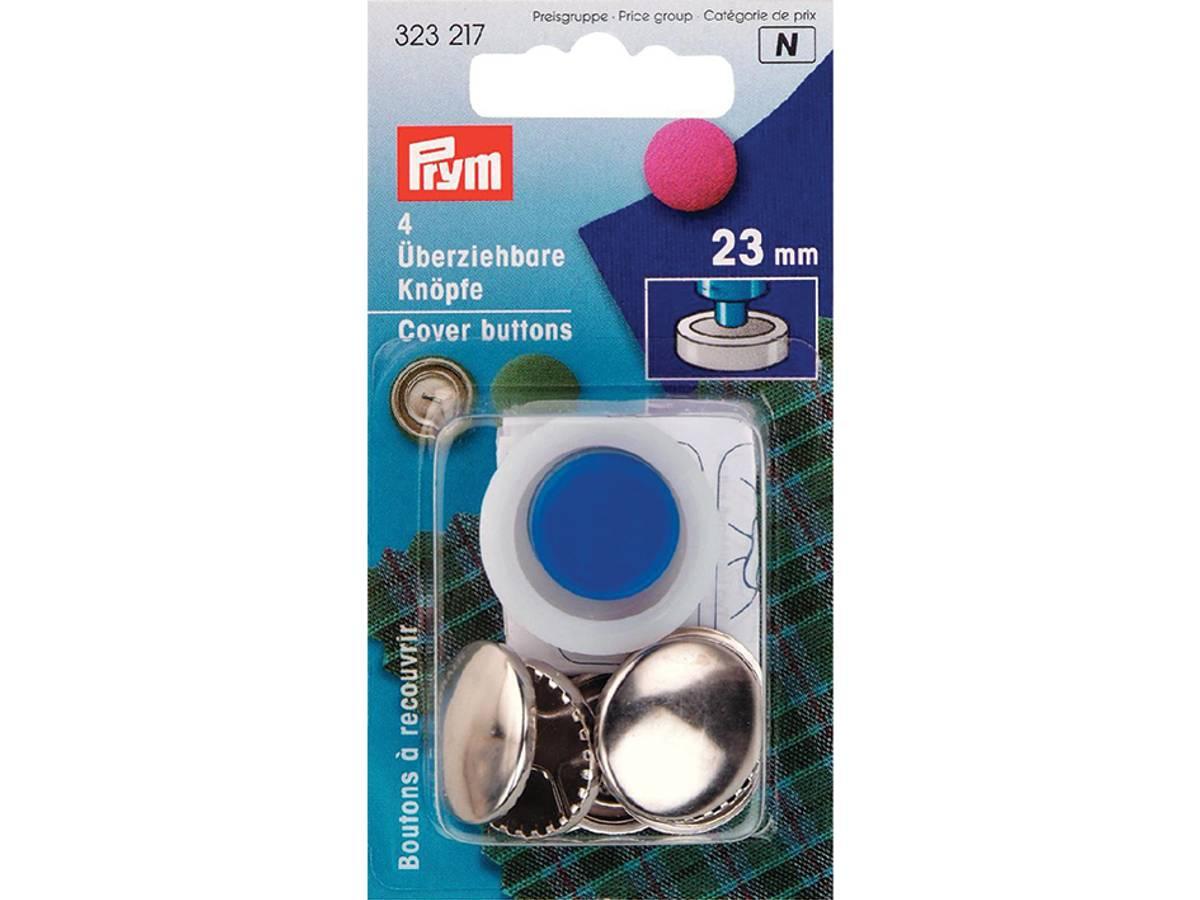 Prym Cover buttons 23mm 4stk sølv 323217