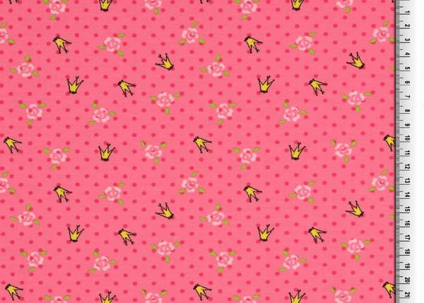 Bilde av Kroner og blomster på rosa prikket bakgrunn
