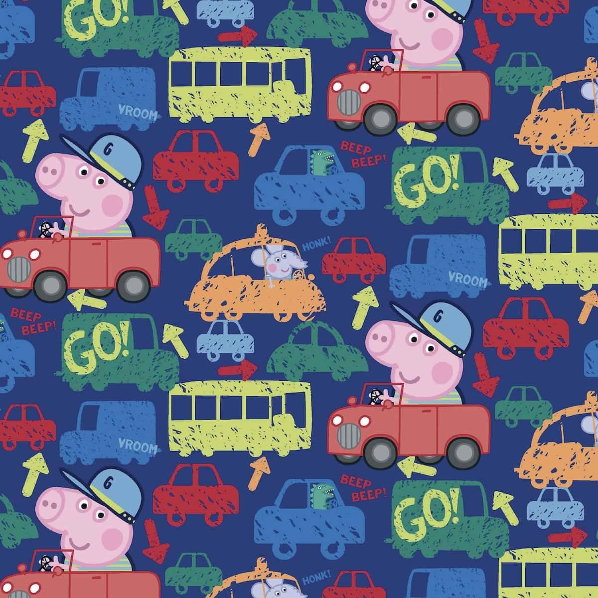 Bomullsjersey - Peppa Gris med biler