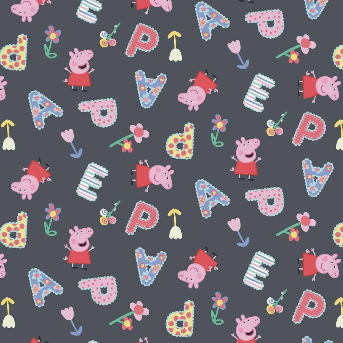 Bomullsjersey - Peppa Gris med bokstaver