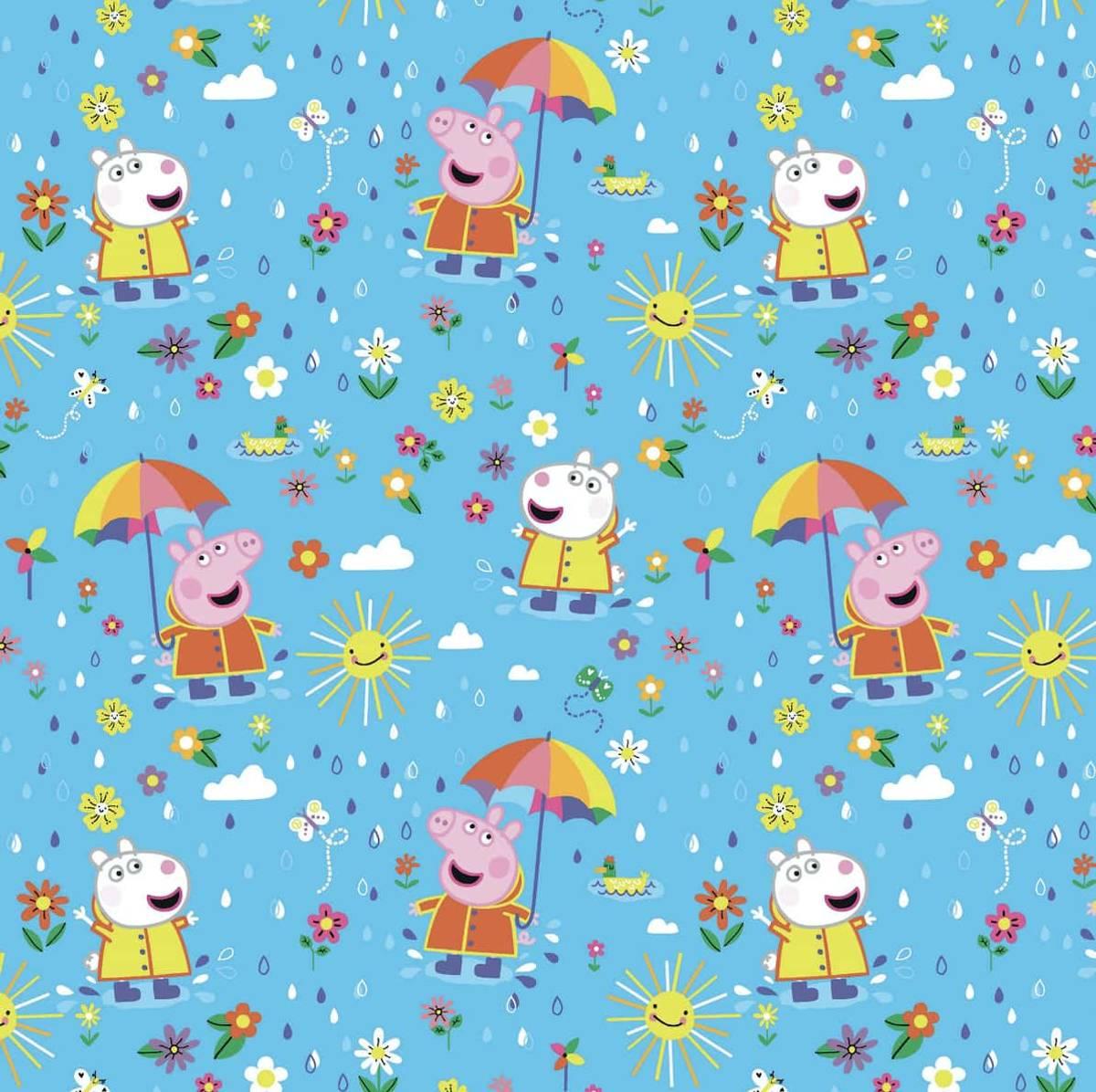 Bomullsjersey - Peppa Gris, sol og regn