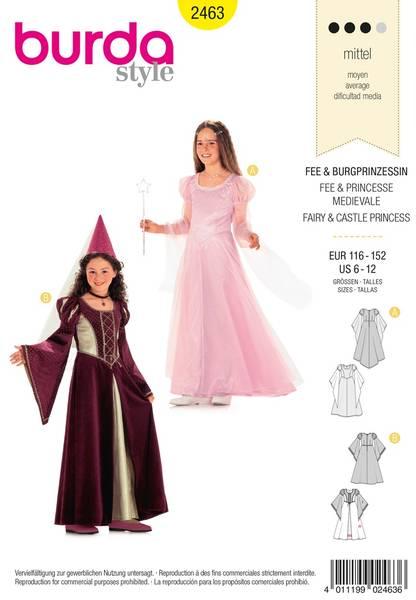 Bilde av Burda Mønster B2463 Children's Fairy & Castle Princess Costume S