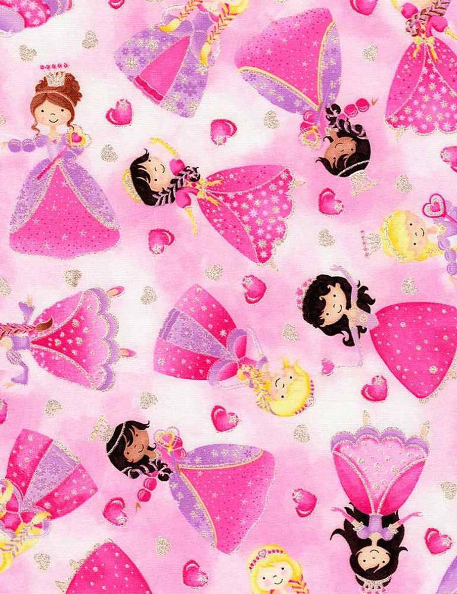 Timeless Treasure GLitter Pink Princesses, KIDZ-CM8234