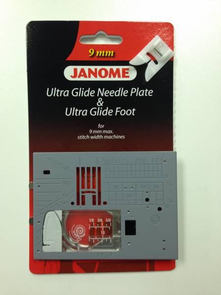 Bilde av (3etg) Janome Glidefot inkl stingplate spesial, Gr.1 - 9mm
