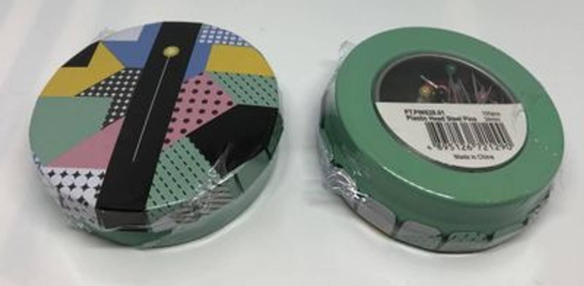 Knappenåler i box 34mm 100stk plast hode (grønn box)