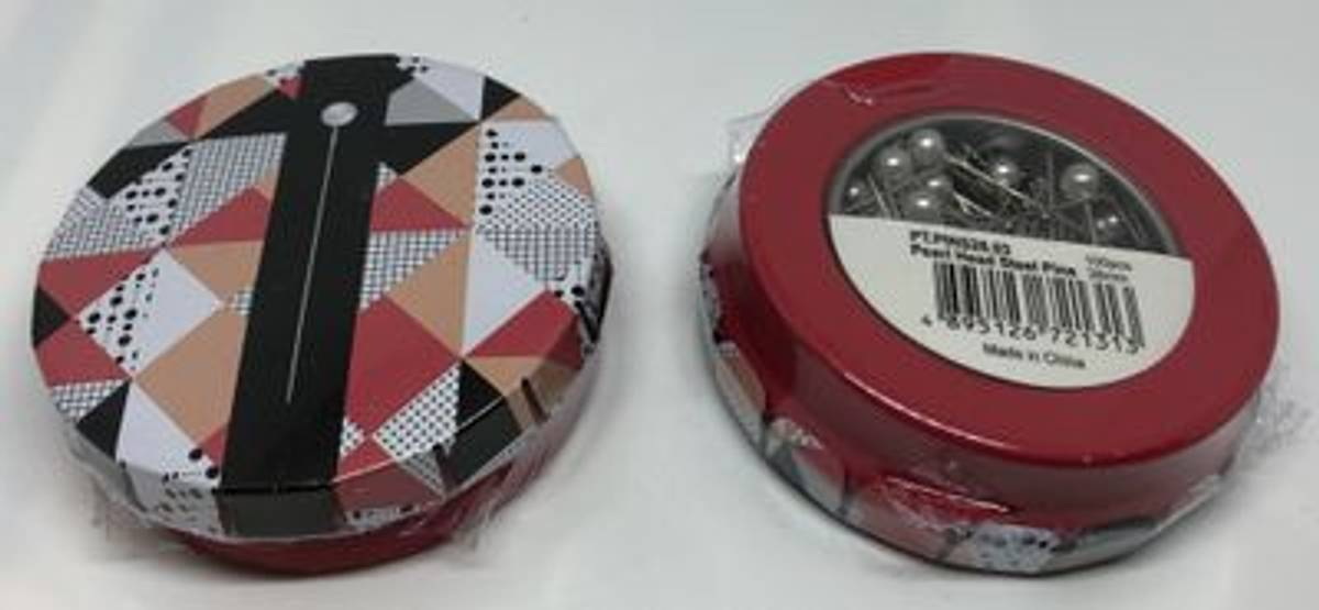 Knappenåler i box 38mm 100stk perle hode (rød box)