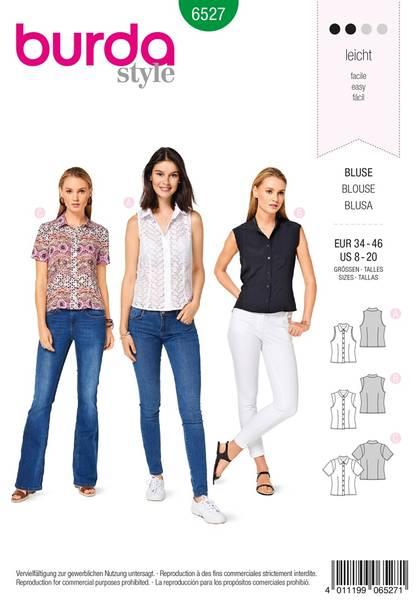 Bilde av Burda Mønster   B6527 Women's' Stand Collar Blouse