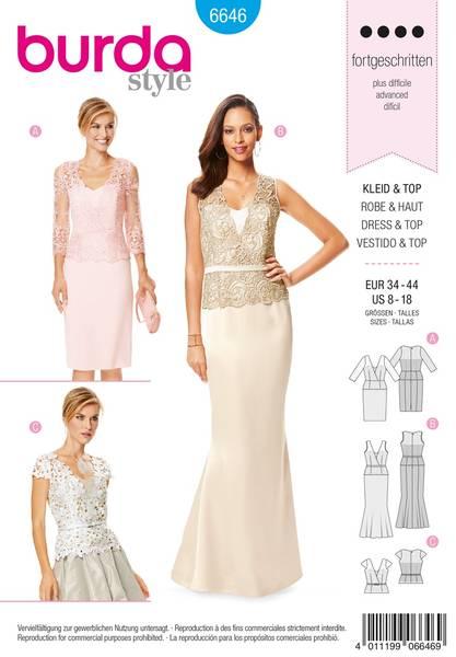 Bilde av Burda Mønster B6646 Women's Dress, Top & Skirt Sewing