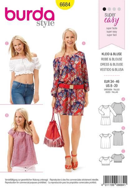 Bilde av Burda Mønster B6684 Women's Dress & Blouse Sewing