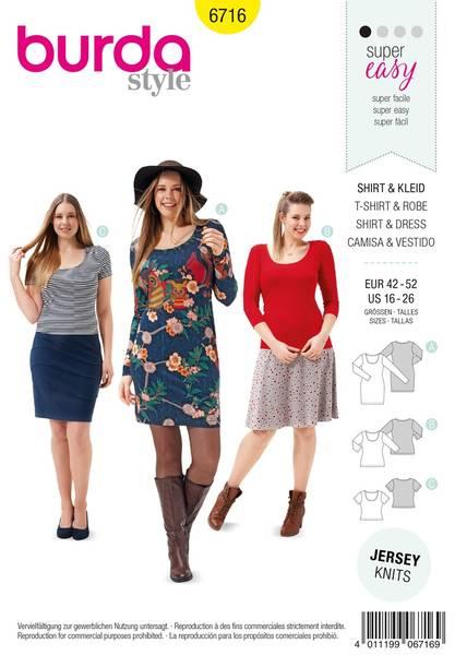 Bilde av Burda Mønster B6716 Women's and Plus Size Shirt Dress Sewing