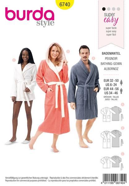 Bilde av Burda Mønster B6740 Bath Robes Sewing