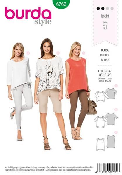 Bilde av Burda Mønster B6762 Tops, Shirts, Blouses Sewing