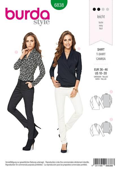 Bilde av Burda Mønster B6838 Top, Shirt & Blouse Sewing