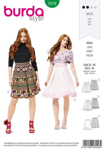 Bilde av Burda Mønster B7016 Burda Mønster Skirt Sewing