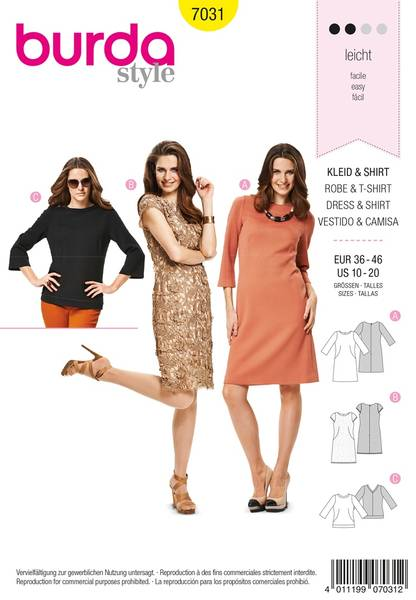Bilde av Burda Mønster B7031 Burda Mønster Dress & Shirt Sewing