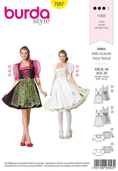 Bilde av Burda Mønster B7057 Burda Mønster Folklore Dress Sewing