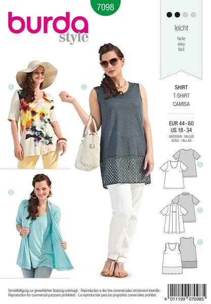 Bilde av Burda Mønster B7098  T-Shirt Sewing