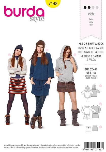 Bilde av Burda Mønster B7148 Dress, Shirt & Skirt Sewing