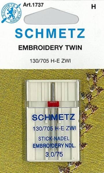 Bilde av (23E41) Nåler Tvillingnål 75 3,0mm H-E ZWI broderi 130/705