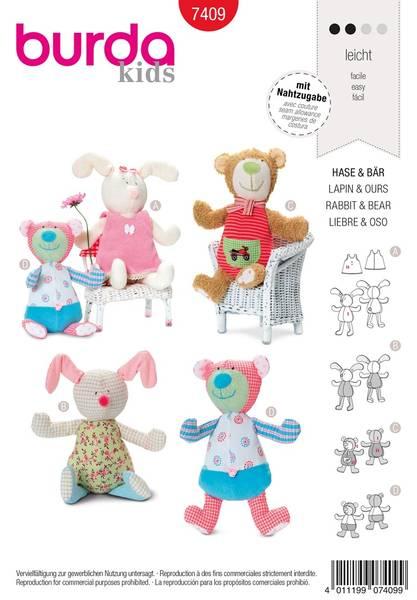 Bilde av Burda Mønster B7409 Rabbit & Bear Toy Sewing