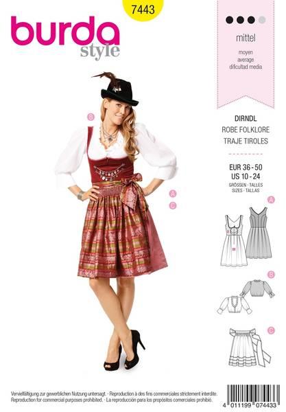 Bilde av Burda Mønster B7443 Dirndl Dress Sewing