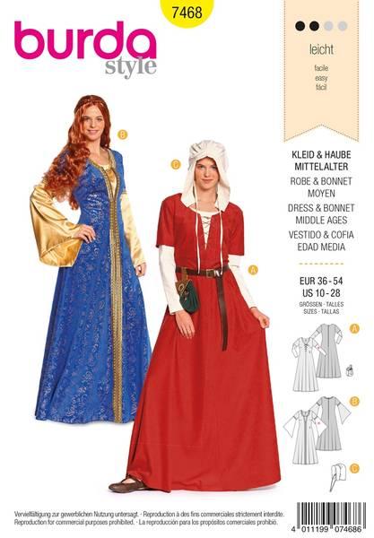 Bilde av Burda Mønster B7468 Dress & Bonnet Middle Ages Sewing