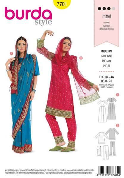 Bilde av Burda Mønster B7701 Traditional Sari Sewing