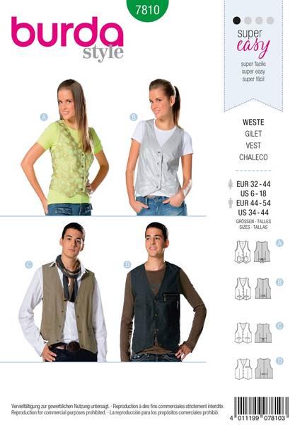 Bilde av Burda Mønster B7810 Vest Sewing
