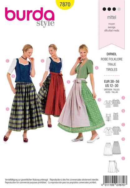 Bilde av Burda Mønster B7870 Dirndl Dress Sewing