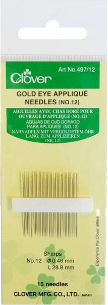 Bilde av (5A30) Golden Eye Applique Needles no 12 Clover 497/12