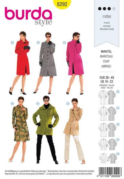 Bilde av Burda Mønster B8292 Coat Sewing