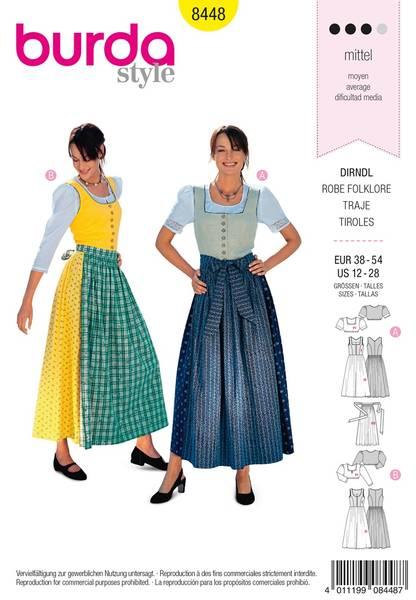Bilde av Burda Mønster B8448 Dirndl Dress Sewing