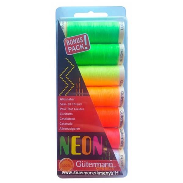 Bilde av Gütermann Neon Sew-all Thread 100  m 7 farger art.731148