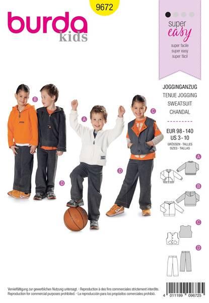 Bilde av Burda Mønster Kids B9672 Jogging Suit for Boys and Girls