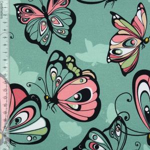 Bilde av Butterflies Dusty Mint - GOTS French Terry