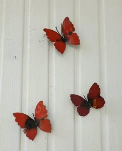 Bilde av Sommerfugl til vegg rød 3 pakk