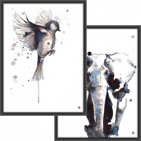 PAKKETILBUD  Fuglen som flyr + Elefant i blekk